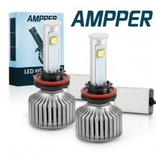 Ampper H11 LED Headlight Bulbs, Ultra Bright Arc Style Beam All in One Conversion Kit - 80W 8,000Lumen 6K Cool White CREE Chips (Pack of 2)
