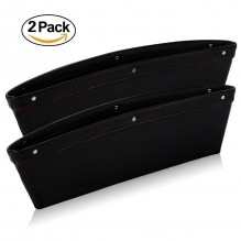 "Ampper Leather Storage Cox, Car Storage Box Pad Pocket Premium Quality PU Leather - (0.79 - 1.6"" Gap Fit, Black, 2 Pack)"