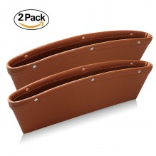 "Ampper Leather Storage Cox, Car Storage Box Pad Pocket Premium Quality PU Leather - (0.79 - 1.6"" Gap Fit, Brown, 2 Pack)"