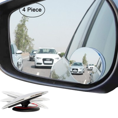 "Ampper 4 Pack Upgrade 2"" Blind Spot Mirrors, 360° Rotate + 30° Sway Adjustabe HD Glass Convex Wide Angle Rear View Car and Motorcycle Universal Fit Stick-On Lens"