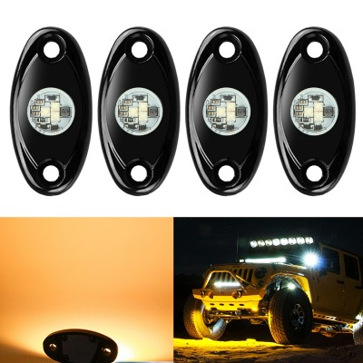 Ampper 4 Pods LED Rock Light CREE Chips, Universal Fit Waterproof Multi Function Accent Glow Neon LED Light Kits for Cars Offroad Truck Boat Deck Underbody Interior Exterior (Amber)