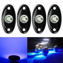 Ampper 4 Pods LED Rock Light CREE Chips, Universal Fit Waterproof Multi Function Accent Glow Neon LED Light Kits for Cars Offroad Truck Boat Deck Underbody Interior Exterior (Blue)