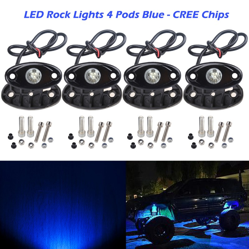 led boat deck lights. Ampper 4 Pods LED Rock Light CREE Chips, Universal Fit Waterproof Multi Function Accent Glow Neon Kits For Cars Offroad Truck Boat Deck Underbody Led Lights
