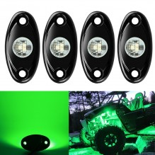 Ampper 4 Pods LED Rock Light CREE Chips, Universal Fit Waterproof Multi Function Accent Glow Neon LED Light Kits for Cars Offroad Truck Boat Deck Underbody Interior Exterior (Green)
