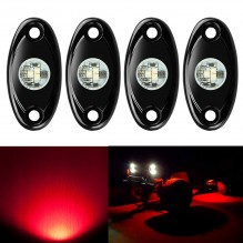 Ampper 4 Pods LED Rock Light CREE Chips, Universal Fit Waterproof Multi Function Accent Glow Neon LED Light Kits for Cars Offroad Truck Boat Deck Underbody Interior Exterior (Red)