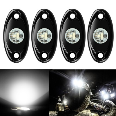Ampper 4 Pods LED Rock Light CREE Chips, Universal Fit Waterproof Multi Function Accent Glow Neon LED Light Kits for Cars Offroad Truck Boat Deck Underbody Interior Exterior (White)