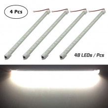 12V 48 LEDs Interior Light Bar for Car Van Indoor and Home Use (With On/Off Switch, White, 4 Pcs)