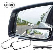 Ampper Square Blind Spot Mirror, 360 Degree HD Glass and ABS Housing Convex Wide Angle Rearview Mirror for Universal Car Fit (Pack of 2)