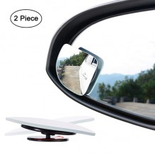 Fan Shape 360 Degree Rotate Sway Adjustabe Blind Spot Mirrors, Ampper HD Glass Convex Frameless Stick On Lens (Pack of 2)