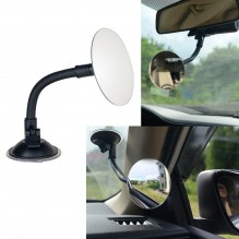 "3.35"" Round Blind Spot Mirror/Rear Facing Mirror, Ampper 360 Degree Rotate Adjustabe Suction Cup/Long Arm HD Glass Convex Wide Angle Rear View Universal Fit Lens"
