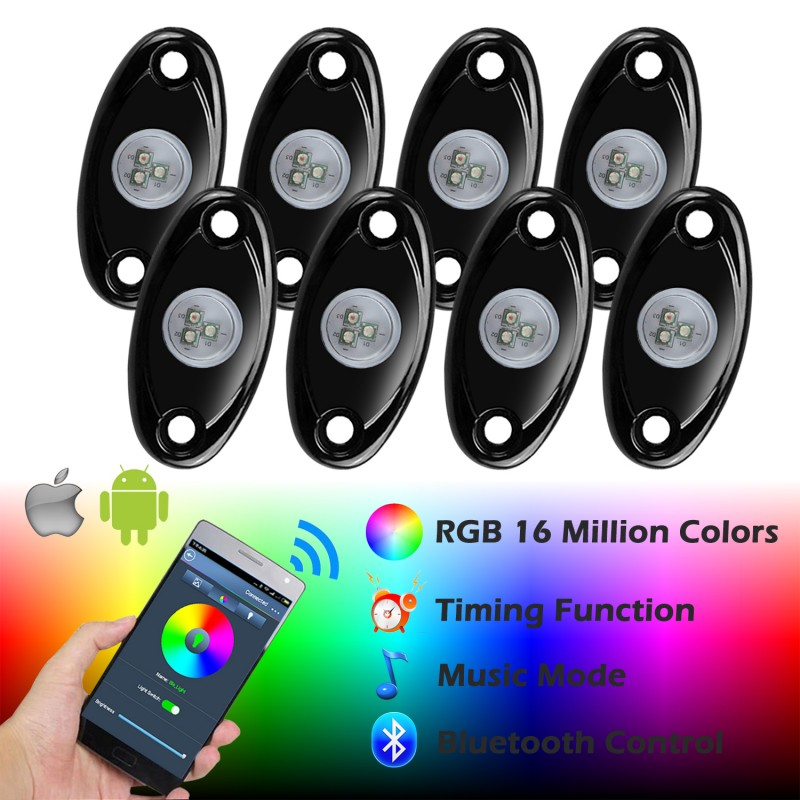 Ampper Rgb Led Rock Lights With Bluetooth Control Timing